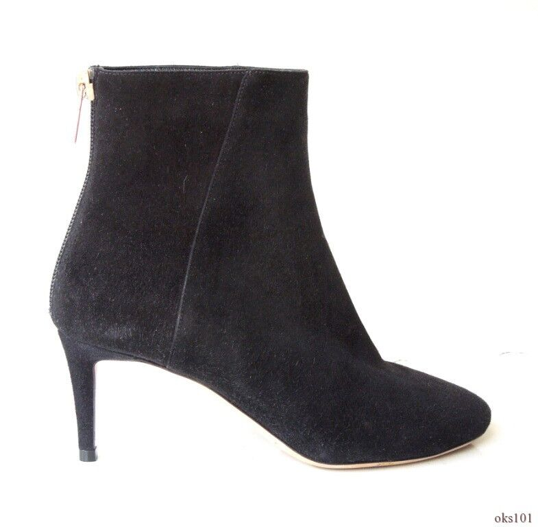 new $895 JIMMY CHOO black suede back zipper ANKLE BOOTS 35 5 - very classy