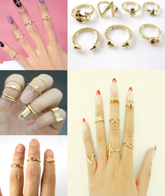 4/7pcs Women Above Knuckle Ring Band Hip Midi Finger Ring Set U choose Gift