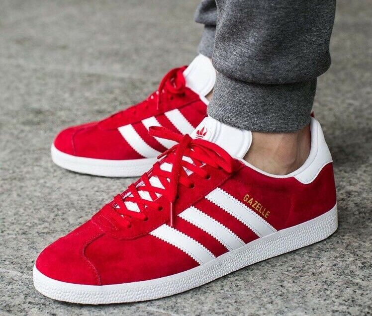 Adidas Gazelle sz 8.5 Mens Scarlet Red White GOLD Trainers Shoes Sneakers S76228