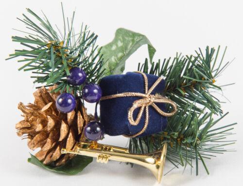 Tannenzweig Weihnachten Deko 4 Weihnachtspick mit Päckchen Zapfen Trompete