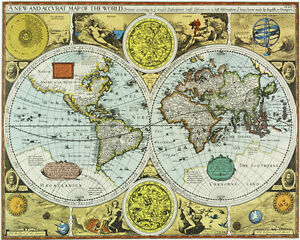 1626 new accurate world mapfantastic decorative poster a1a2 image is loading 1626 034 new amp accurate 034 world map gumiabroncs Choice Image