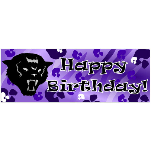 Black Purple Panther Cat Happy Birthday Decorations Balloons Party Supplies