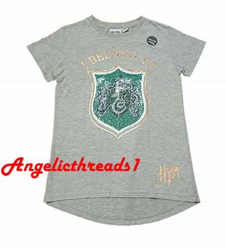 Primark Girls Harry Potter Gryffindor//Slytherin 2Way Brush Reverse Sequin Tshirt