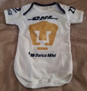 c9bc09f1d7d Image is loading White-Pumas-UNAM-Baby-Soccer-Jersey-Bodysuit-Panalero-