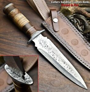 Rare!!! Beautiful Handmade Damascus Steel Dagger Knife   HARD WOOD