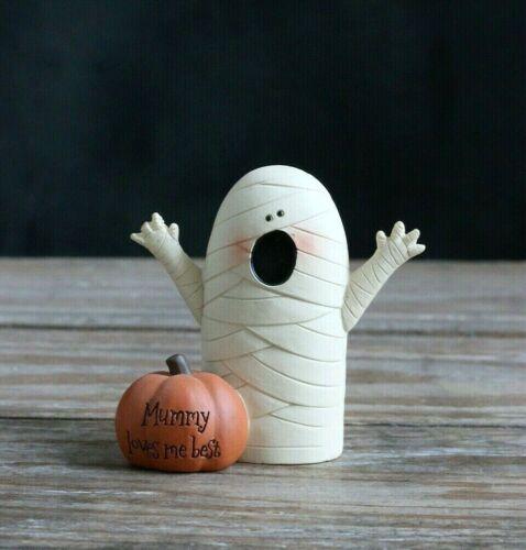 Blossom Bucket Halloween Mummy Loves Me Best Resin Figurine Primitive Fall Decor