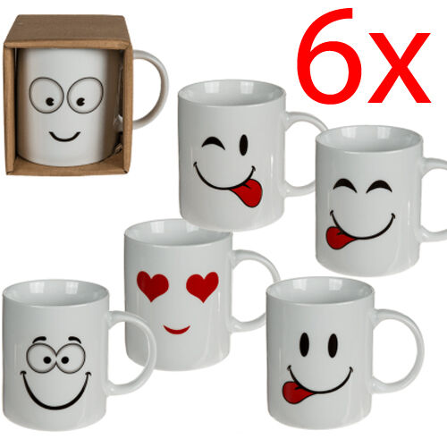 SET OF 6 FUNNY EMOJI COFFEE TEA MUG CUP NOVELTY GIFT KITCHEN DRINKING FACES NEW