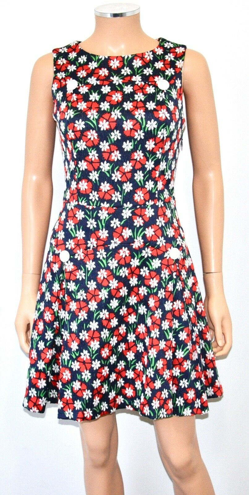 ALICE'S PIG MODCLOTH Navy Red White Daisy Vintage Retro Mod Shift Dress - Sz 4