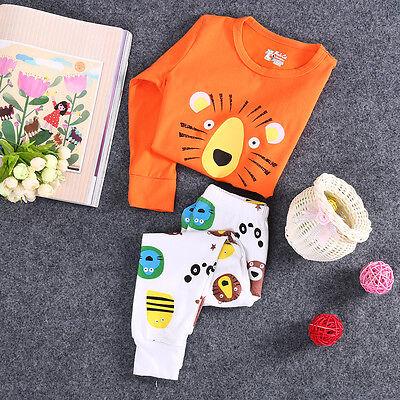 Toddler Baby Kids Boy Girl Lion Pattern Cute Sleepwear Nightwear Pyjamas Outfits