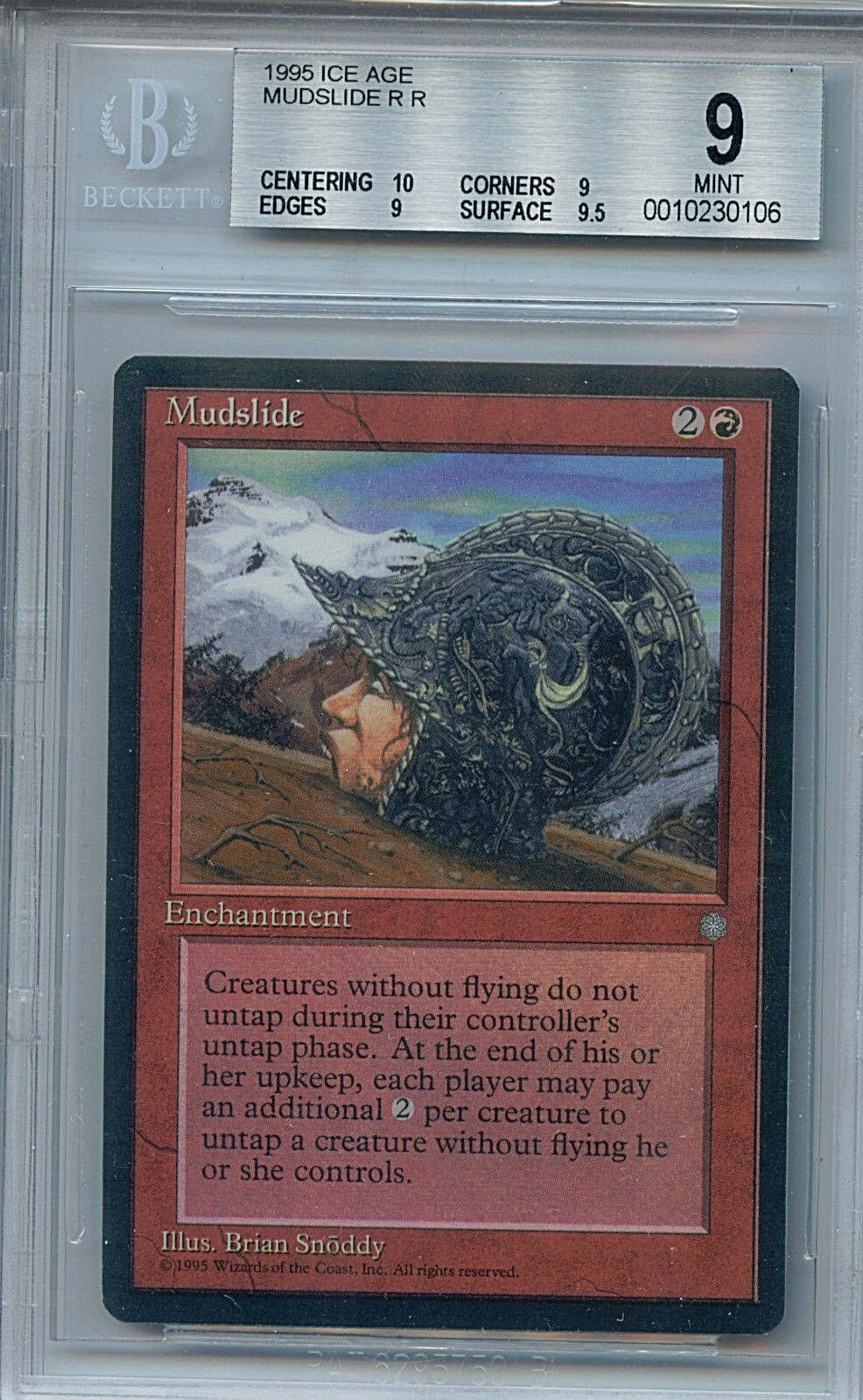 MTG Ice Age Mudslide BGS 9.0 Mint Magic Card with 10 centering WOTC 0106