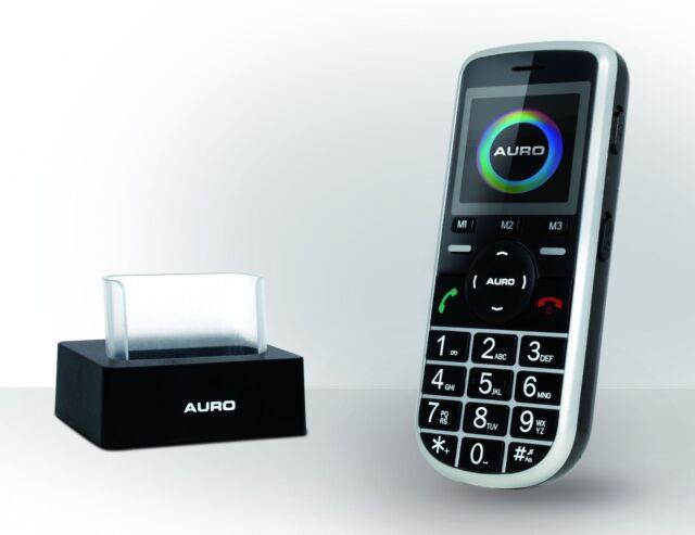 Auro M301 schwarz Großtasten telefon m.Tischladestation Senioren Handy Neu M 301