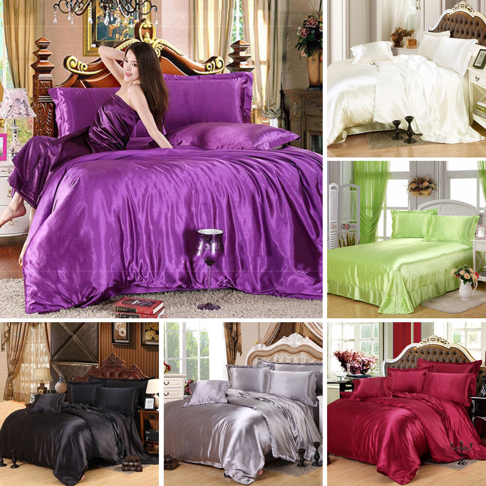 Satin Silk Queen King Bed Sheet Quilt Cover Pillow Fitted Bedding 3 4 PCs Set