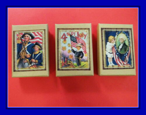 PATRIOTIC 4TH OF JULY VINTAGE POSTCARD GIFT BOXES THREE GREAT FOR GIFTS