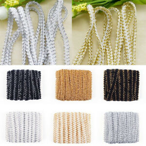 5M-Gold-Silver-Triming-Centipede-Braided-Lace-Ribbon-Sew-Applique-Clothes-Crafts