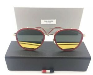 9667b95011a THOM BROWNE TB-801-D GOLD WITH RED AVIATOR SUNGLASSES w. FLAT LENSES ...