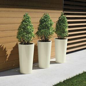 3 Stück hohe Blumentöpfe mit Einsatz in Elfenbein Euro3Plast Tuit Übertopf Vasen