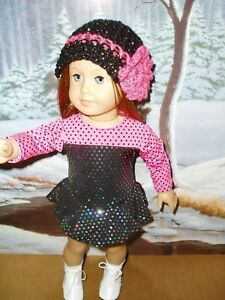 3-pc-Black-amp-amp-Pink-Ice-Skating-Outfit-fits-American-Girl-Dolls-18-034-Doll-Clothes
