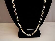 """24K GOLD PLATED NEW24"""" SS 4MM FIGARO MENS CUSTOM CHAIN NECKLACE GUARANTEED SHINY"""