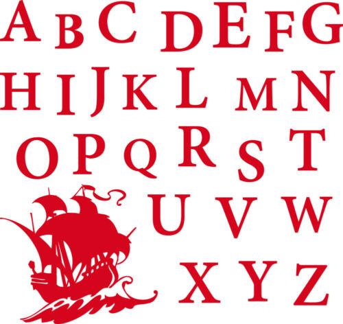 Wandtattoo Aufkleber Tattoo für Kinderzimmer Alphabet ABC Piratenschiff