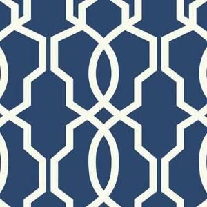 Wallpaper-Designer-Geometric-Hourglass-White-Trellis-on-Blue