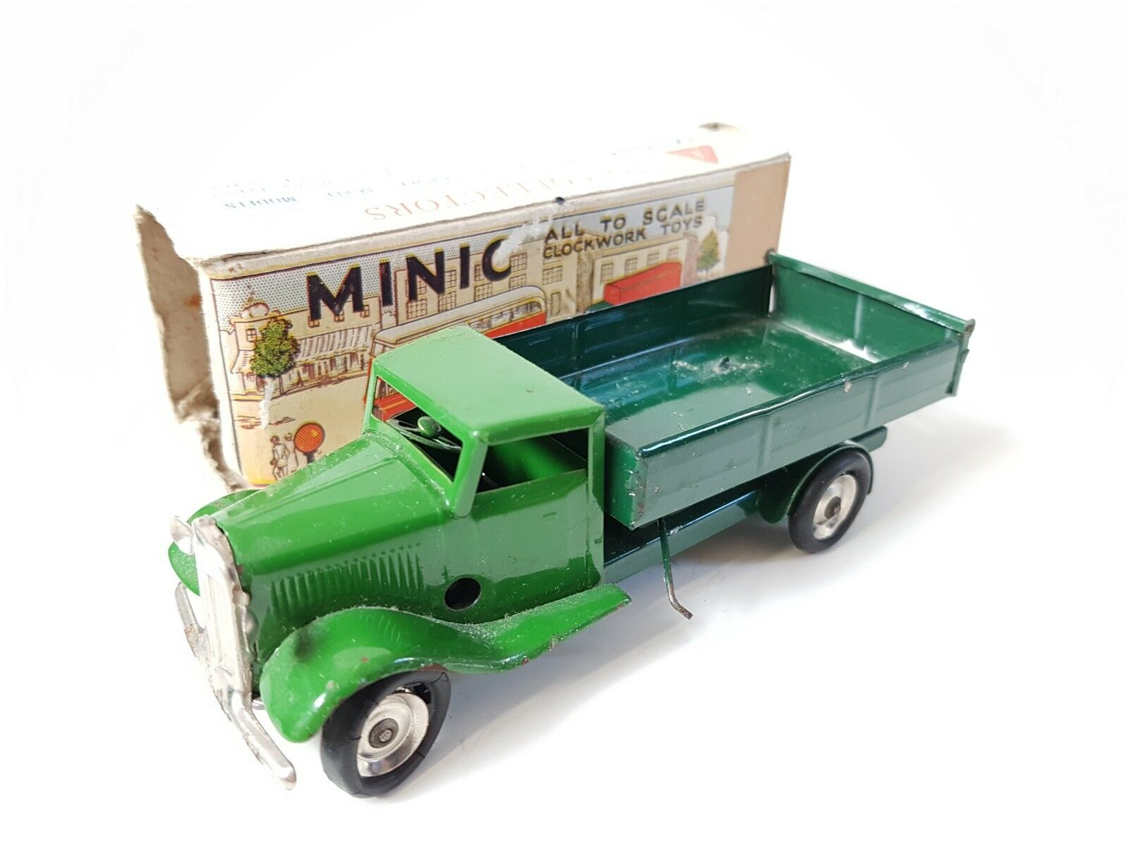 TRIANG MINIC 23M TIPPING LORRY tri-ang lines bros tin toy excellent boxed green