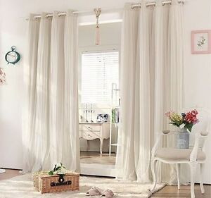 Eyelet Bedroom Curtains BLOCKOUT EYELET CURTAINS Lounge Bedroom Bridal Lace GIRLS Curtain