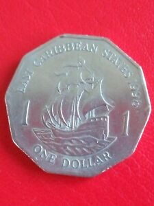 1998 East Caribbean States 1 dollar coin. Circulated & Collectable!