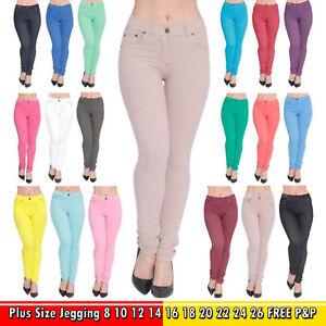 New Womens Ladies Stretchy Denim Look Skinny Jeggings Leggings Regular Size 8-14