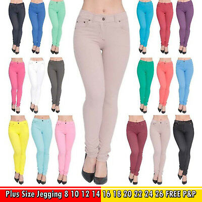 New Womens Jeggings Ladies Fit Skinny Coloured Stretchy Trousers Jeans Size 8//26
