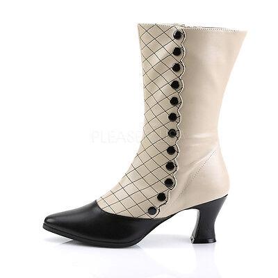 "Funtasma Victorian Cream//Black 2.75/"" Mid-Calf Boots Steampunk 6 7 8 9 10 11 12"