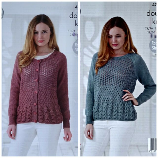 39e18ad7f7d9 KNITTING PATTERN Ladies Long Sleeve Lace Body Cardigan  Jumper DK King Cole  4759
