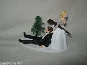 Details About Wedding Party Reception Shot Gun Cake Topper Bride Dragging Groom Humorous