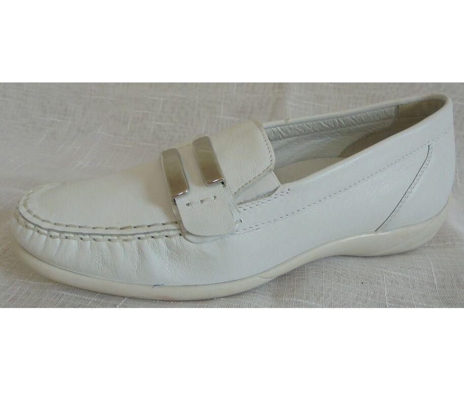Scarpe da Donna Scarpe Mocassini Mocassino in pelle bianca foresta alfiere tg. 4,5 (37,5) W K
