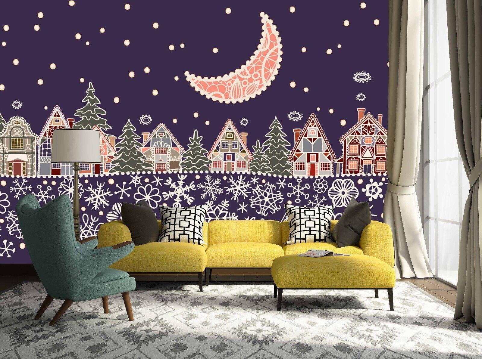 3D Christmas Moon Graffiti Wall Paper Print Decal Wall Deco Wall Indoor Murals