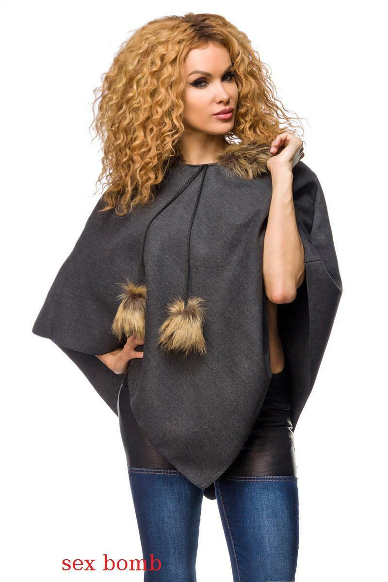 SEXY PONCHO grey con con con pelliccia ecologica taglia unica (38 40 42 44) GLAMOUR d20ae2