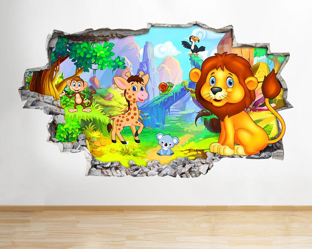 H065 Jungle Mignon Nurserie Animaux Autocollant Mural Affiche 3D
