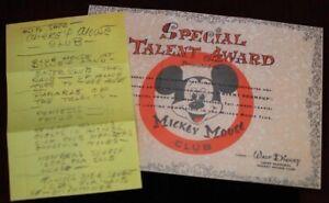 Walt Disney Handwritten Notes w/ Mickey Mouse Club Talent Certificate 1955 2003