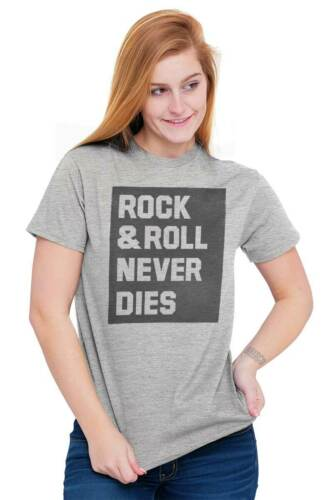 Rock And Roll Never Dies Music Classic Rock Short Sleeve T-Shirt Tees Tshirts
