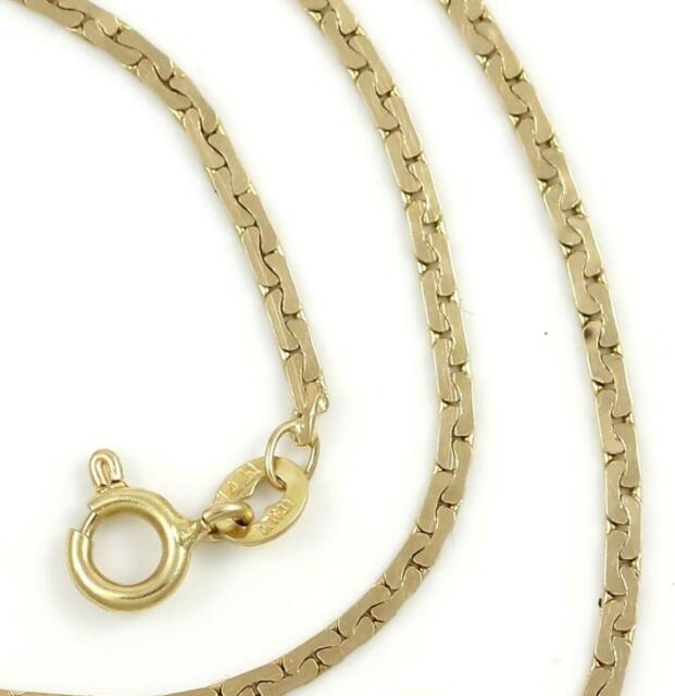 """Solid 14K Yellow Gold 2mm Unusual Link Chain Necklace 17""""  4.5 Grams"""