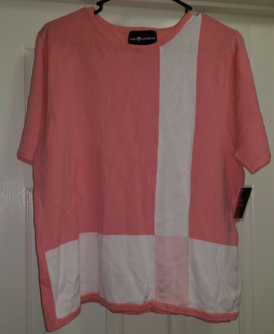 Sag Harbor NWT Womens White Pink Sweater Top Size L
