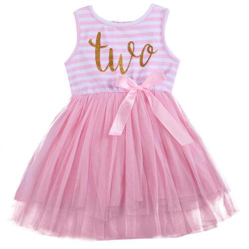 Baby Girls Kids 1st 2nd 3rd Birthday Dress Tutu Skirt Princess Party Sundress
