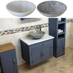 Bathroom Wall Hung Vanity Unit Grey Painted White Marble Top Stone Basin Ebay