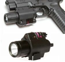Tactical Flashlight + Red Laser Sight + cord remote switch For Gun Pistol Glock