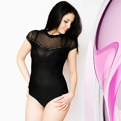 Womens Leotard Bodysuit Turtle Neck Lace Short Sleeve Ladies Body Top Size 8-16