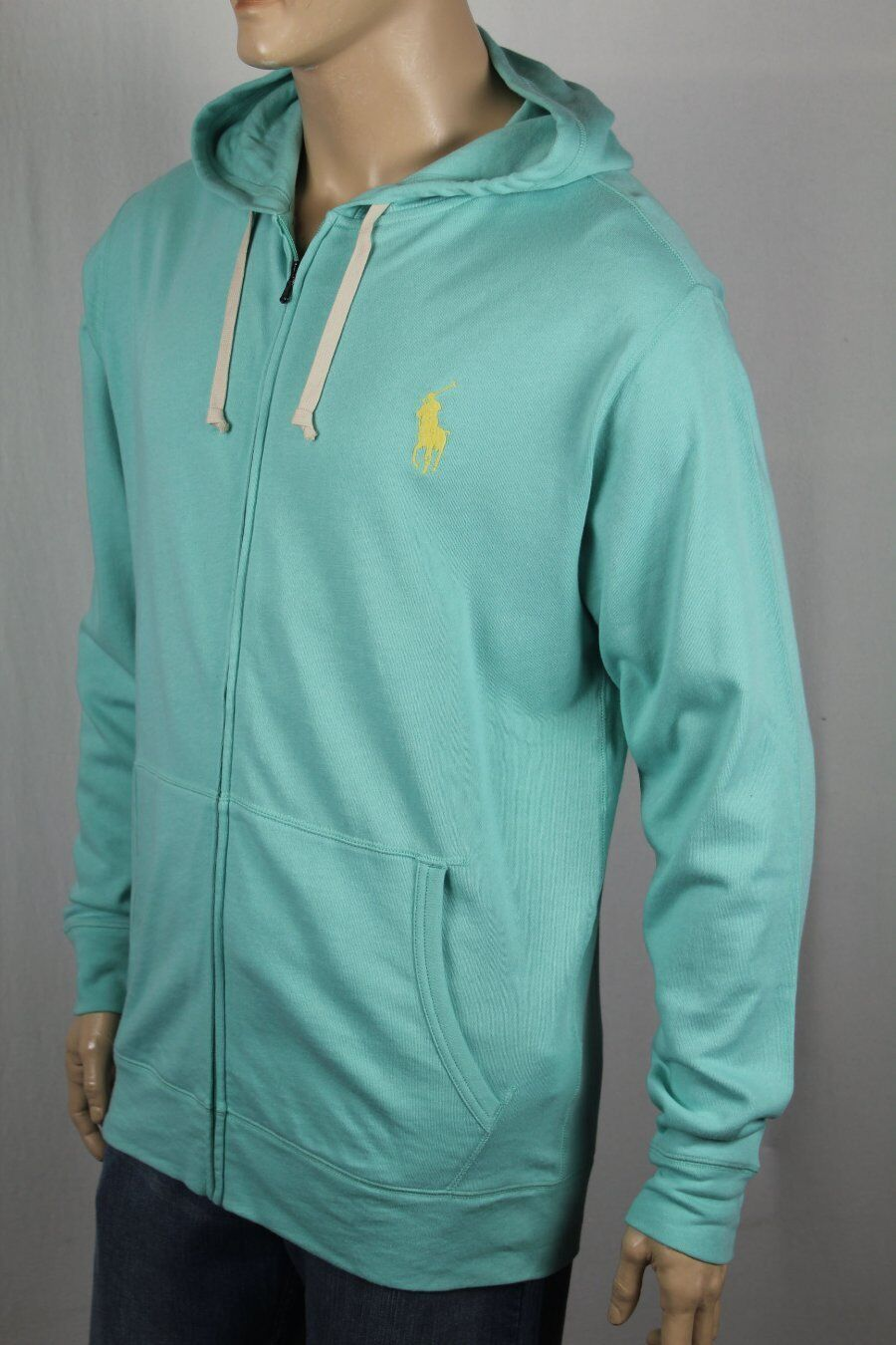 Ralph Lauren Lightweight Aqua Grün Hoodie Full Zip Sweatshirt Big Gelb Pony