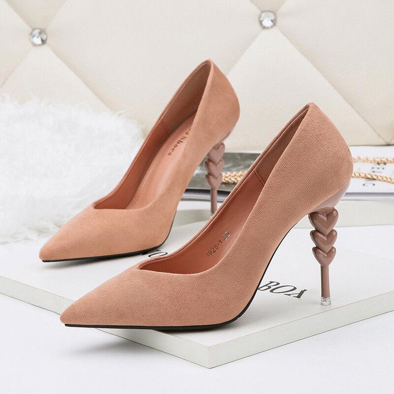 Decolte stiletto 10 cm eleganti pink  rocchetto eleganti  simil pelle 9903