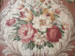 Antique Vintage French Roses Floral Scroll Tapestry Fabric ~ Rose Blue