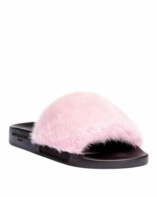 NEW Givenchy Mink Fur Slide Sandal Flats Pink 37 7