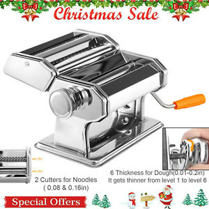Stainless-Steel-Fresh-Pasta-Noodle-Maker-Roller-amp-Cutter-Manual-Hand-Crank-USA