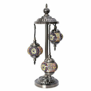 Christmas-Decor-Handcrafted-Circle-Mosaic-Turkish-Style-Table-Lamp-Bronze-Base